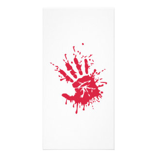 Bloody hand picture card