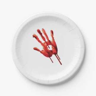Bloody Hand Print 7 Inch Paper Plate
