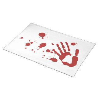 Bloody Hand Print Blood Spatter Halloween Props Placemats