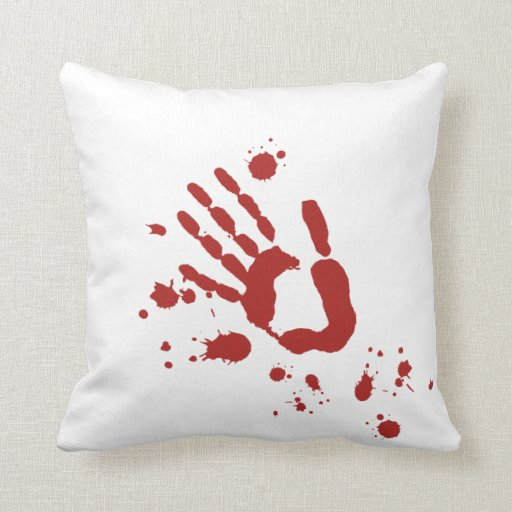 Bloody Hand Print Blood Spatter Halloween Props Pillows