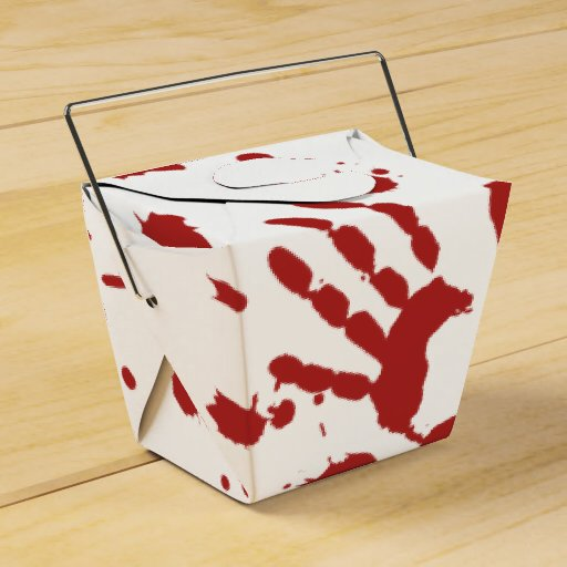 Bloody Hand Print Blood Spatter Halloween Props Favor Boxes