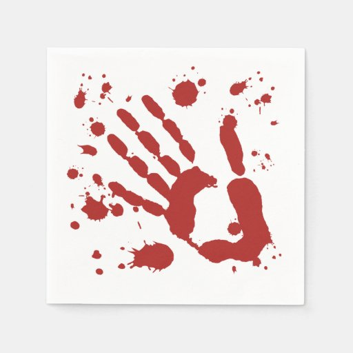 Bloody Hand Print Blood Spatter Halloween Props Paper Napkin
