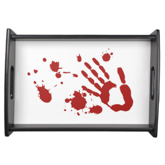 Bloody Hand Print Blood Spatter Halloween Props Service Tray