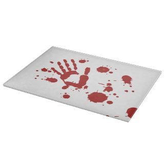 Bloody Hand Print Blood Splatter Halloween Props Cutting Boards