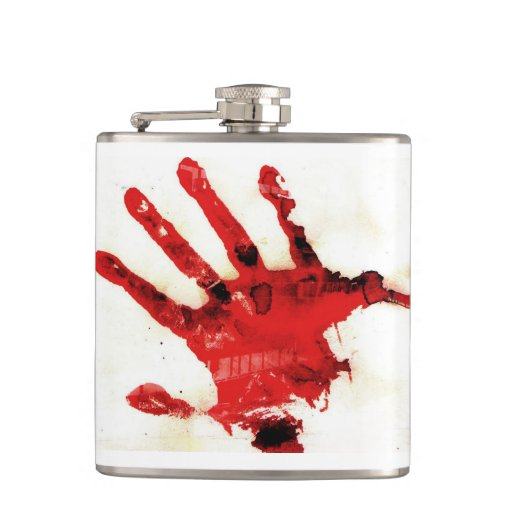 Bloody Hand Print Flask