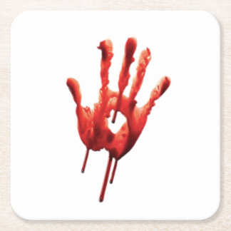 Bloody Hand Print Square Paper Coaster