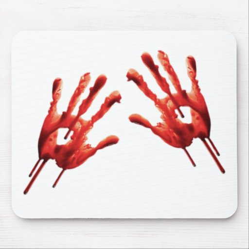 Bloody Hand Prints Mouse Pads