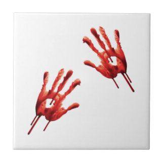 Bloody Hand Prints Small Square Tile