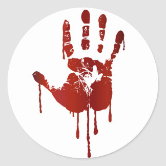 Bloody hand round sticker