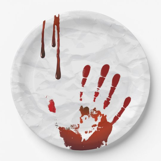 Bloody handprint 9 inch paper plate