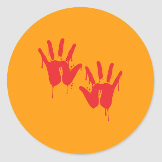 BLOODY HANDS - Halloween - png Round Stickers
