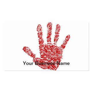 Bloody Horror Red Hand Print Sketch Business Card Templates