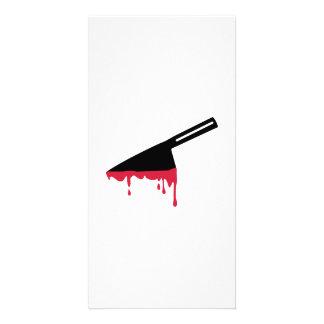 Bloody knife custom photo card