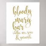 Bloody Mary Bar Gold Glitter 8x10 Wedding Sign