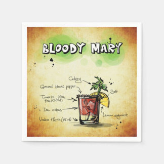 Bloody Mary Bartender Drink Recipe Disposable Napkin