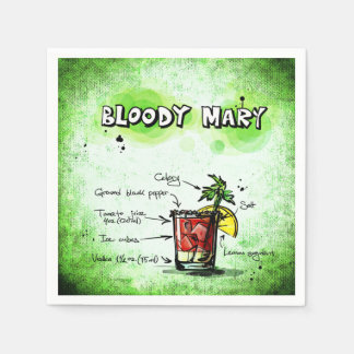 Bloody Mary Bartender Drink Recipe Paper Napkin