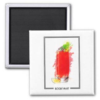 Bloody Mary Cocktail Marker Sketch Square Magnet