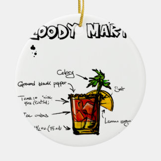 Bloody Mary Cocktail Recipe Round Ceramic Decoration