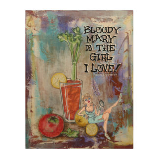 Bloody Mary Kitchen Bar Cocktail Wood Wall Art