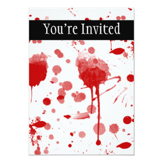 Bloody Mess Drips Splatters Custom Color BG 13 Cm X 18 Cm Invitation Card