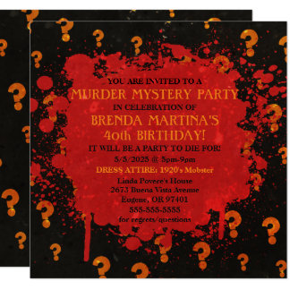 Bloody Murder Mystery Party Invitation