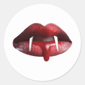 Bloody Vampire Red Lipstick Lips Round Sticker
