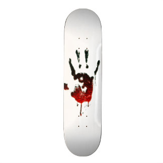 Bloody Zombie Hand on white 20 Cm Skateboard Deck