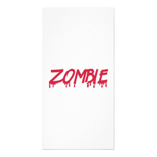 Bloody zombie personalized photo card