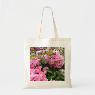 Bloom where you are planted rose tote canvas bags