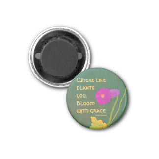bloom with grace 3 cm round magnet