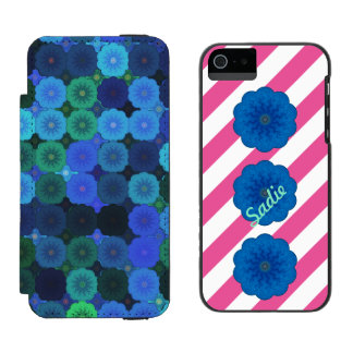 Bloomin' Stripes Name blue green pink iPhone 5/5s Incipio Watson™ iPhone 5 Wallet Case