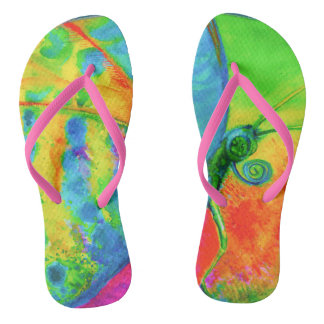 Blooming Art - Butterfly Holliday by CraftiesPot Flip Flops