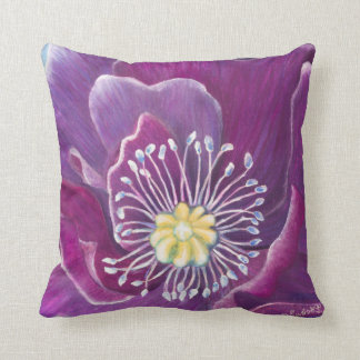 Blooming Art Pillow_Purple Poppy by CraftiesPot Cushion