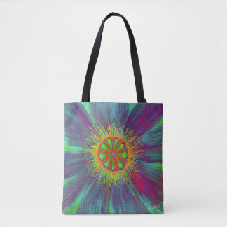 Blooming Art - Psychodelic Flower by CraftiesPot Tote Bag