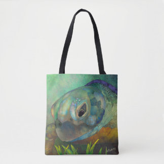 Blooming Art ►Turqoise Turtle by CraftiesPot Tote Bag