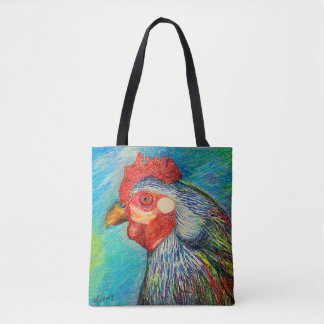 Blooming Art - Wise Hen in Pastels by CraftiesPot Tote Bag