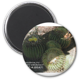 BLOOMING BARREL CACTI AND ASSORTED PHRASES FRIDGE MAGNET