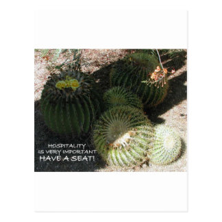 BLOOMING BARREL CACTI AND ASSORTED PHRASES POSTCARD