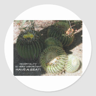 BLOOMING BARREL CACTI AND ASSORTED PHRASES CLASSIC ROUND STICKER
