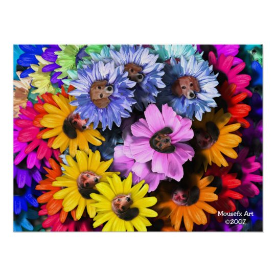 Blooming Beagles Poster