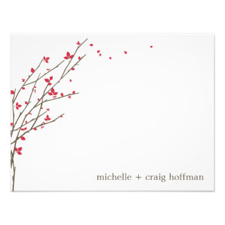 Blooming Branches Flat Thank You Card - Cerise Custom Invitation