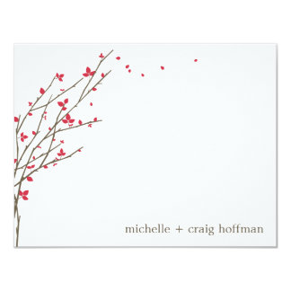 Blooming Branches Flat Thank You Card - Cerise 11 Cm X 14 Cm Invitation Card