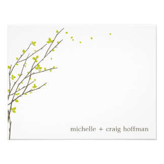 Blooming Branches Flat Thank You Card - Lime Custom Announcements