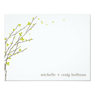 Blooming Branches Flat Thank You Card - Lime 11 Cm X 14 Cm Invitation Card