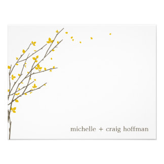 Blooming Branches Flat Thank You Card - Mustard Personalized Invitation