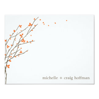 Blooming Branches Flat Thank You Card - Orange 11 Cm X 14 Cm Invitation Card