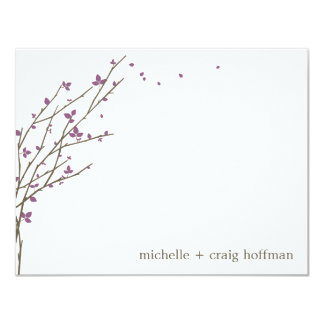 Blooming Branches Flat Thank You Card - Plum 11 Cm X 14 Cm Invitation Card