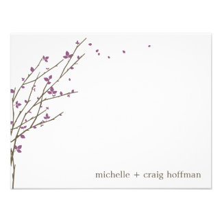 Blooming Branches Flat Thank You Card - Plum Custom Invite