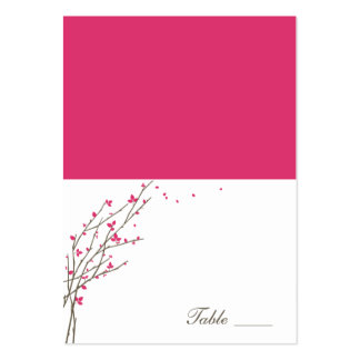 Blooming Branches Folded Place Cards - Fuchsia Business Card Templates
