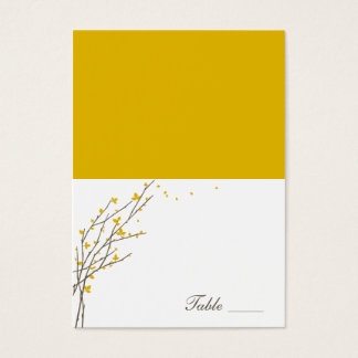 Blooming Branches Folded Place Cards - Mustard